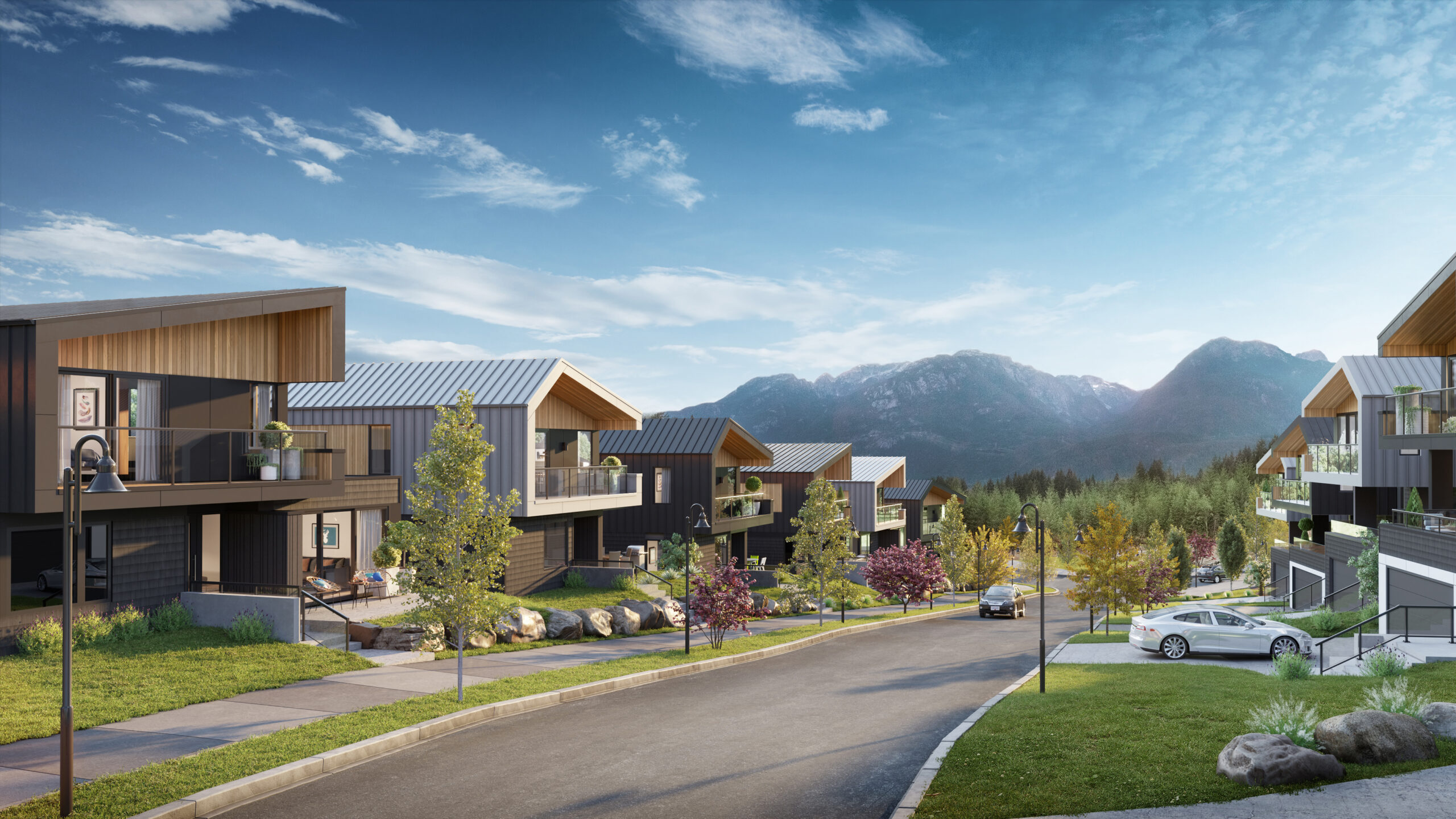 Rendering of a neighbourhood street view featuring dark and light modern homes and mountains in the background.